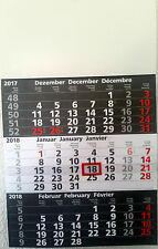 3-Monats Wandkalender 2018 Dunkelgrau 50 cm x 30 cm Kalender