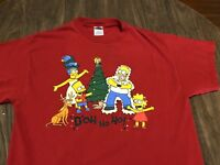The Simpson's Doh Ho Ho Large Red T Shirt Holiday Christmas Themed 2004