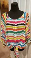 Large Chenault brand Multicolored thin blouse w/ tie