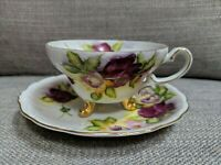 Norcrest Fine China Pink Roses Hand Painted 3 Footed Teacup Saucer, Gold Trim