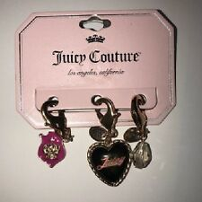 JUICY COUTURE CHARMS! SET OF 3! BLACK HEART! CLEAR BEAD & CROWN! FREE SHIP! NEW!