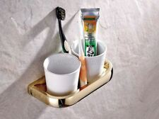 Luxury Gold Color Brass Bathroom Fitting Wall Mounted Toothbrush Holder eba846