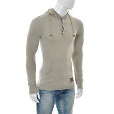 Khujo Men Button Shawl Collar Hoodie Sweater Shirt jumper size M Medium GREY