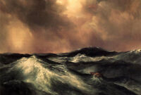 Oil art Thomas Moran - The Angry Sea with huge ocean wave and Shipwreck canvas