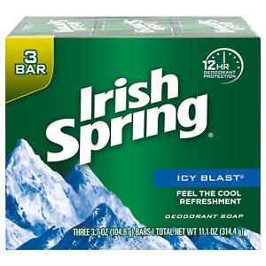 Irish Spring Deodorant Soap Icy Blast 3.7oz Soaps Bar (pack of 3)