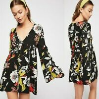 Free People Bella Tunic Dress Top Size Small Black Floral Print Bell Sleeve Boho