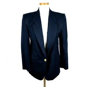Talbots Womens Petite Solid Navy Blue w/ Gold Buttons Wool Blazer Jacket 6P