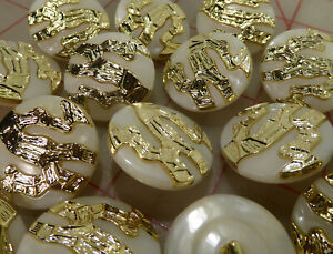 """50 plastic shank buttons white & gold abstract design 30mm 1 3/16"""" #882"""