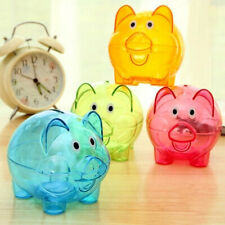 KM_ BH_ Clear Lovely Piggy Bank Plastic Coin Cash Money Saving Box Kids Gift N
