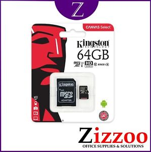64GB KINGSTON MICRO SD UHS-I FLASH CARD WITH ADAPTER GREAT SPEED AND PRODUCT
