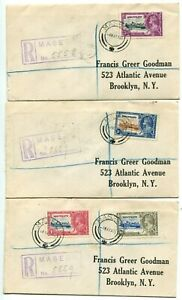 1935 Silver Jubilee Basutoland set on 3 registered FDCs to New York