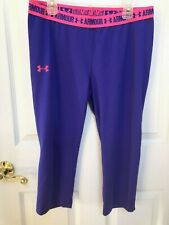 Under Armour Purple Pink Yoga Fitness HeatGear Fitted Athletic Pants Sz Youth XL