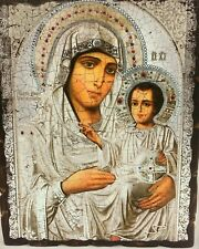 Old Virgin Merry Jerusalem Russian Icon Wood Base Икона Иерусалимская Старая