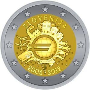 Pièce 2 Euros commémorative Slovénie  2012 -10 ans de l'euro 2012