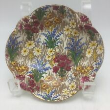 "Chintz Royal Winton Grimwades England Marguerite Nut Dish 5"" Gold Fan Detail"