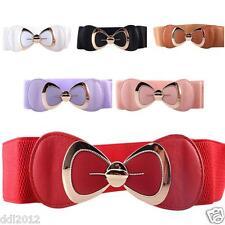 Women Fashion Bowknot Buckle Leather Waistband Wide Elastic Stretch Waist Belt