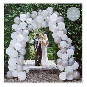 "10"" White Silver Wedding Balloons Arch KIT DIY BALOONS GLUE ROLL BALLONS DECOR"