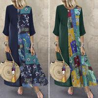 Mode Femme Oversize Loisir Impression Manche Longue Col Rond Robe Dresse Plus