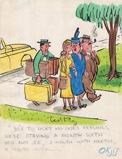 TED KEY HANDSIGNED ORIGINAL COLOR ARTWORK FROM EARLY 50s  GREAT HAZEL CARTOONIST