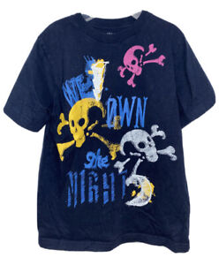 """Gap Kids Boys Size S Small 6-7 Navy Blue T-shirt """" We Own The Night"""" Skulls Used"""