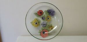 SO PRETTY...GLASS DISH...WITH  FLOWER DESIGN..GLASS ..BOWL..COUNTRY..FLORAL