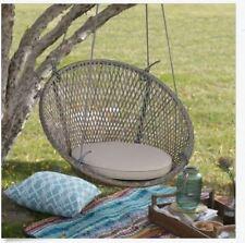 Hanging Wicker Chair Swing Patio Outdoor Porch Garden Tan Cushion Tree Single