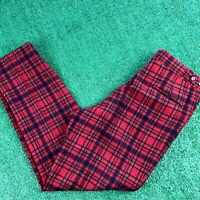 Vtg Pendleton Pants Wool 80s Vintage Slacks Red Plaid Retro Mens Size 34 x 30