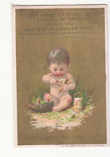 White Grecian Soap NAked Baby Sitting on Grass Baby Birds Nest Vict Card c1880s