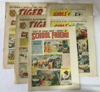 5 x Vintage Comics - Tiger - Girls Crystal - School Friend - 1958