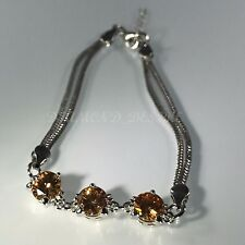Sterling Silver Finish Amber Created Citrine CZ Cubic Zirconia Tennis Bracelet