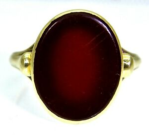 Antique Carnelian 14k Yellow Gold Ring size S ~ US 9 1/4