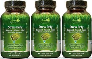 Irwin Naturals Stress Defy, Balanced, Relaxed, Calm Soft-Gels, 84-CNT (3 Pack)