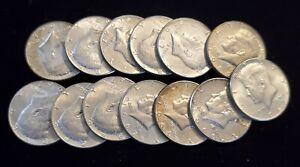 13 40% Silver 1966 - 1969 Kennedy Half Dollar Coins - Nice Coins