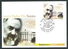 2002 ITALIA CARTOLINA POSTALE FDC PADRE PIO SANTO ANNULLO ROMA FILATELICO