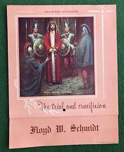 Vintage 1962 Religious Calendar FLOYD W SCHMIDT Jesus Christ God Bible