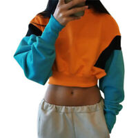 Women Long Sleeve Crop Pullover Sweatshirt Sweater Short Tops Splicing Casual