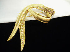 Brooch Pin Graceful Sparkle Vintage Brushed Gold Plate Rhinestone Ribbon Twist