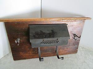 """Rustic Reclaimed Wood Wall metal Pocket Mail  Box bills Organizer hooks keys 27"""""""