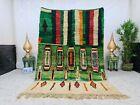 "Boujaad Moroccan Vintage Handmade Rug 5'5""x8' Berber Patchwork Green White  Rug"