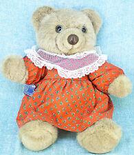 "Applause Grandma Rosie Teddy Bear 16"" Plush Jointed Brown Red Christmas Dress"