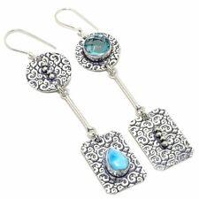 "Caribbean Larimar, Apatite Gemstone Fashion Jewelry Earring 3.3"" SE7250"
