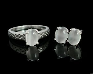 8x6 mm Natural Moonstone Gemstone 925 Sterling Silver Ring Earring Jewelry Set