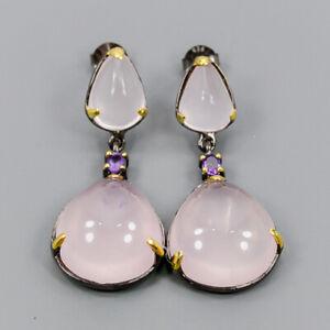 Rose Quartz Earrings Silver 925 Sterling Vintage  /E44898