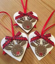 3 X Christmas Decorations Reindeer Shabby Chic Rustic Nordic Real Wood Handmade