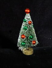 Fabulous Miniature Bottle Brush Tree With Red & Green Christmas Balls