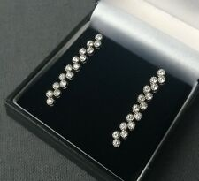 SOLID STERLING SILVER SUPERB CUBIC STONES DROP STUD EARRINGS 925 SILVER