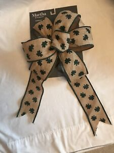 Martha Stewart Large St Patrick's Day Burlap Ribbon Bow Decorative Bow Decor