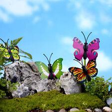 4x 3D BUTTERFLY MINIATURE FAIRY GARDEN ORNAMENT PLANT POT DIY CRAFT DECOR