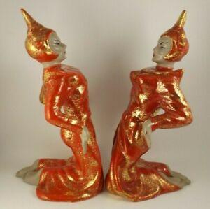 "2 Gilner Ceramic 10.5"" Balinese Dancers Red & Gold Hollywood Regency   (ie@b7)"