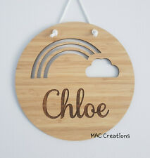 Personalised Wooden Name Wall Door Plaque Sign nursery Baby Girl Round Rainbow